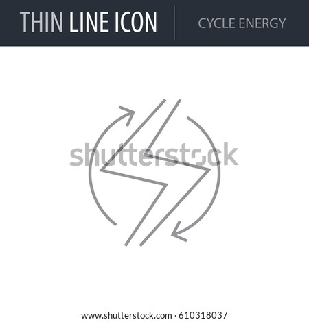 Symbol Cycle Energy Thin Line Icon Stock Vector 610318037 Shutterstock
