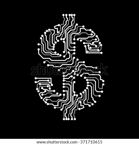 Symbol of dollar. Circuit board. Vector illustration. Eps 10