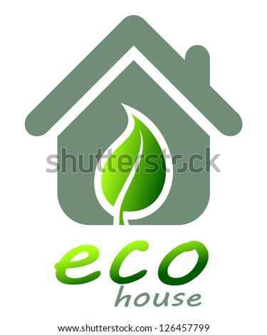 Symbol of ecological house - stock vector