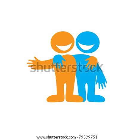 Symbol Friendship Icon Happy Friends Vector Stock Vector 79599751