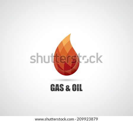 Symbol  of gas and oil - drop made of geometric elements - vector illustration - stock vector
