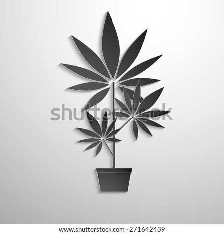 symbol of growing marijuana cut black paper. Vector background - stock vector
