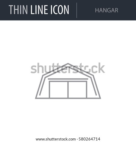 Symbol Hangar Thin Line Icon Airline Stock Vector 580264714