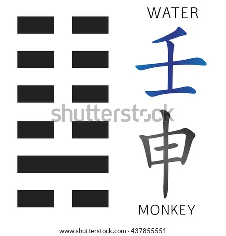 Symbol Ching Hexagram Chinese Hieroglyphs Translation Stock Vector
