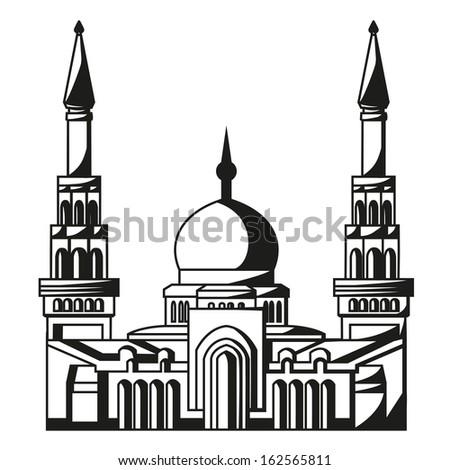 Symbol of Islam. Silhouette of Mosque. Ramadan.  Vector illustration eps10 - stock vector