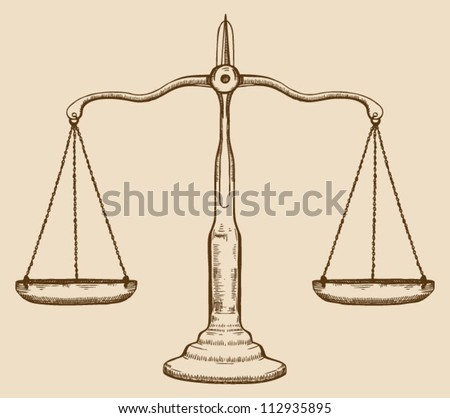 Symbol of justice, draw scale, old, vintage - stock vector