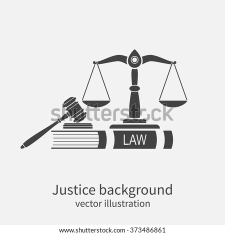 Symbol of law and justice. Concept law and justice. Scales of justice, gavel and book. Vector illustration. Can be used as logo legality. - stock vector