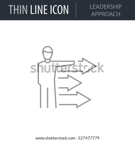 Symbol of Leadership Approach Thin line Icon of Global Business. Stroke Pictogram Graphic for Web Design. Quality Outline Vector Symbol Concept. Premium Mono Linear Beautiful Plain Laconic Logo