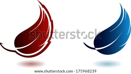Symbol of little feathers, logo design - stock vector