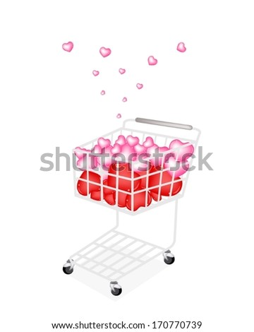 Symbol of Love and Luxury, A Shopping Cart Full with Beautiful Pink and Red Hearts for Someone Special Isolated on White Background.  - stock vector