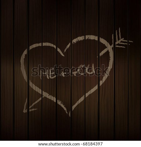 symbol of love hand drawn by the chalk on the wooden wall - stock vector