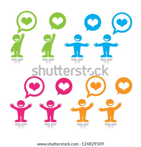 Symbol of love - the person express love. Options. Vector. - stock vector