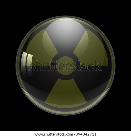 symbol of radioactive contamination  on a background ball, danger vector illustration - stock vector