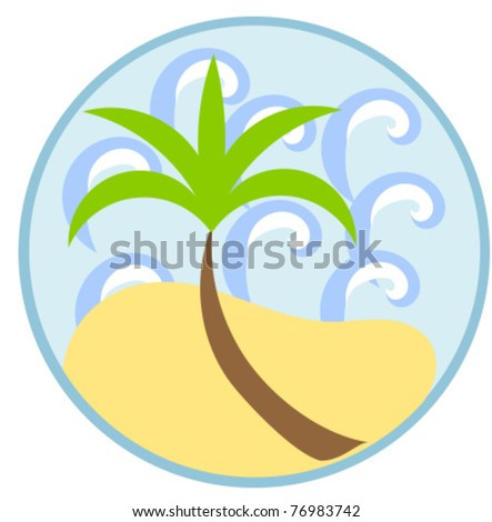 Symbol of summer vacation: palm tree, sea and beach - stock vector