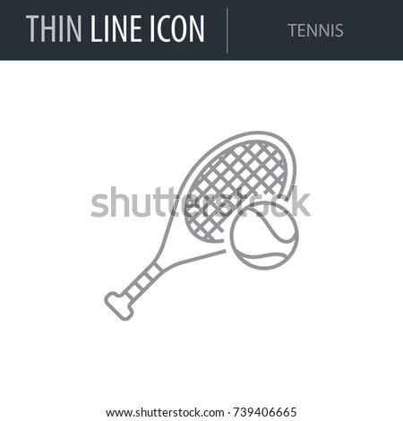 Symbol of Tennis. Thin line Icon of Set of Sport Equipment.