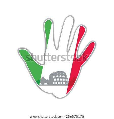 Symbol of the city - Rome. The idea for the design - stock vector