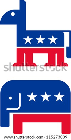 symbol of the Republican and Democrat Party - stock vector