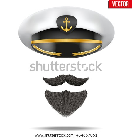Symbol of the sea captain with peaked cap and beard. Editable Vector illustration Isolated on background.