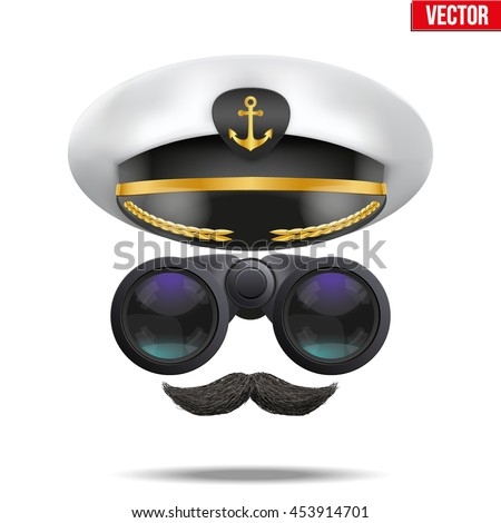 Symbol of the sea captain with peaked cap and binoculars. Editable Vector illustration Isolated on background. - stock vector