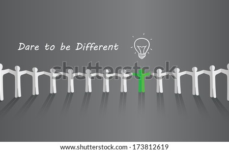 Symbol of uniqueness, ideas, different thinking, standing out of the crowd - stock vector