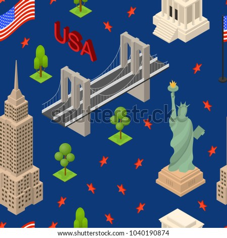 Symbol Usa Seamless Pattern Background Concept Stock Vector Hd