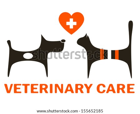 symbol of veterinary care with cute dog and cat - stock vector