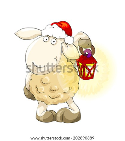 Symbol of year 2015. Lovely lamb in Santa's cap with lantern on the isolated white background. Illustration, vector - stock vector