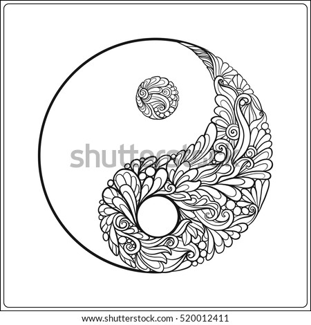 symbol of yin and yang in gold on black background coloring book for adult - Yin Yang Coloring Page