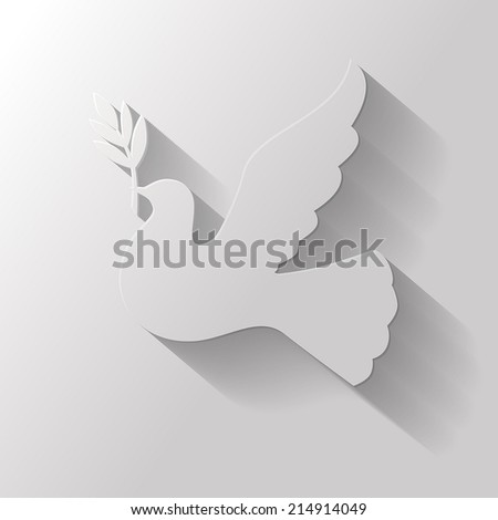 Symbol peace of  flat icon dove with a palm branch