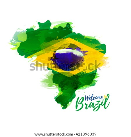Symbol, poster, banner Brazil. Map of Brazil with the decoration of the national flag. Style watercolor drawing. Brazil map with national flag. Vector. - stock vector