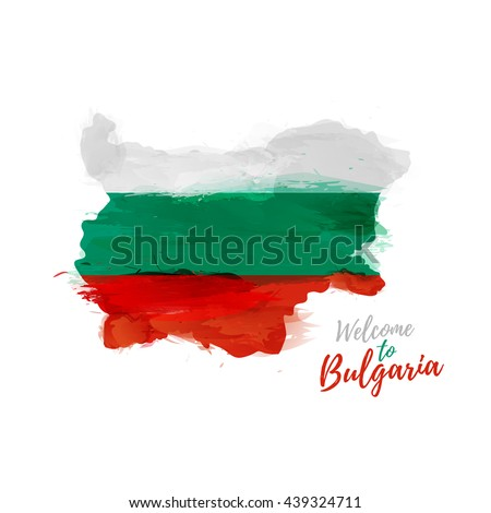Symbol, poster, banner Bulgaria. Map of Bulgaria with the decoration of the national flag. Style watercolor drawing.  Vector. - stock vector