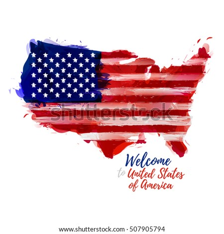 Symbol Poster Banner Usa Map United Stock Vector - Watercolor us map