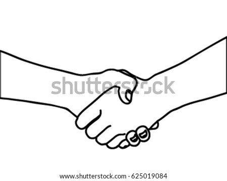 Line Art Hand : Symbol show shake hand clip art stock vector