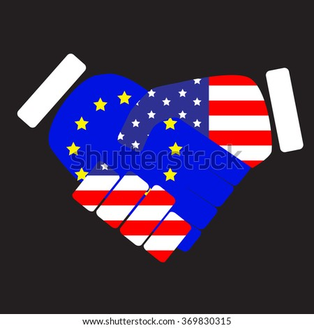 Symbol sign handshake European Union and USA. Flag union european and usa, america states, american cooperation and friendship, nation handshake. Vector art abstract unusual fashion illustration - stock vector