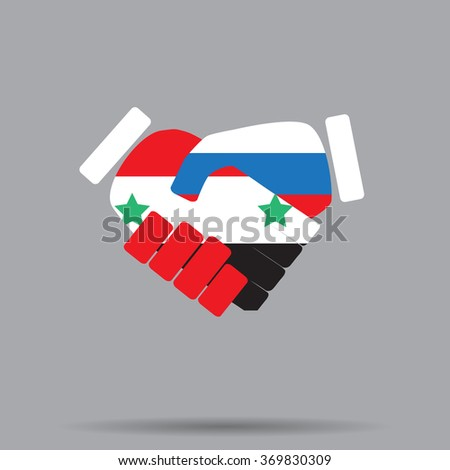 Symbol sign handshake Syria and Russia. Cooperation friendship russia and syria, handshake national agreement, hand syrian country. Vector art abstract unusual fashion illustration - stock vector