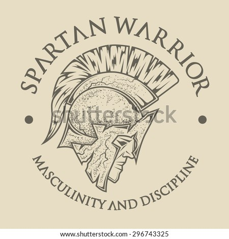 Symbol Spartan, Greek, warrior, a soldier in the traditional helmet on his head. Emblem, logo vintage style. - stock vector