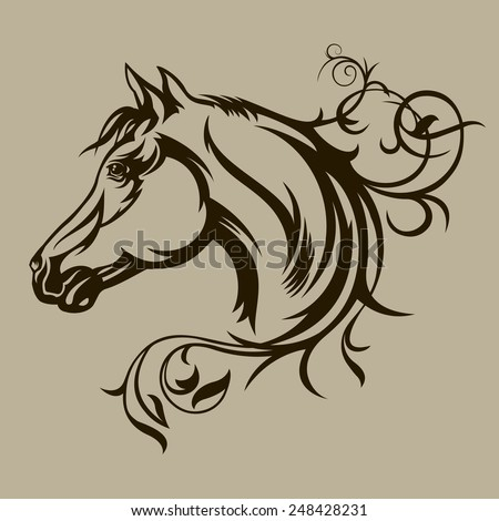 Symbol tattoo horse for design - stock vector