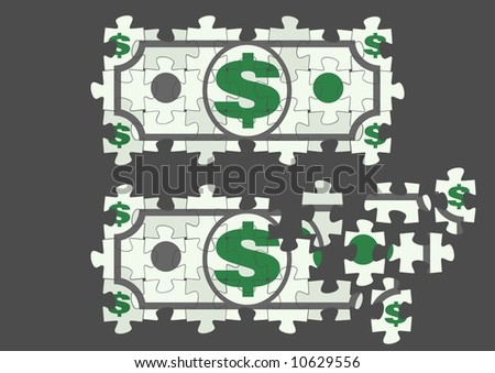 Symbolic Dollar bill as a fragment of a puzzle
