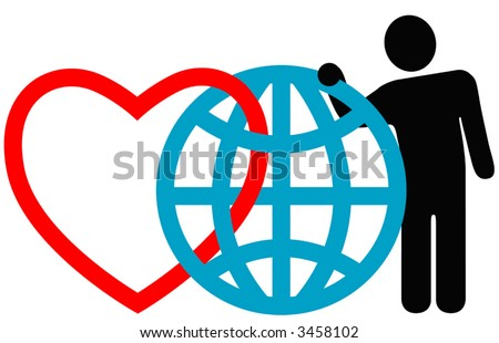 "Symbolic friends (heart, globe, man) pose together at the annual International Symbol Reunion. ""Love the Earth."" - stock vector"