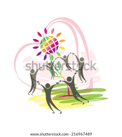 Symbolic illustration of good people, heart, flower and planet. - stock vector