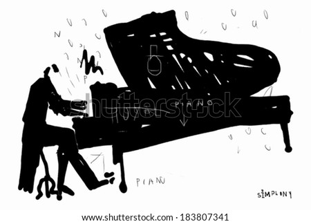 Symbolic image of a pianist who plays the piano  - stock vector