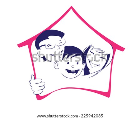 Symbolic image of a smiling family and the contour of their house - stock vector