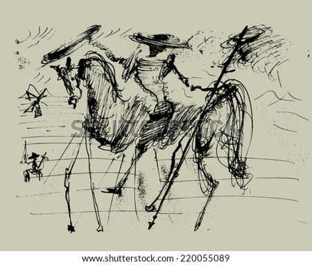 Symbolic image of Don Quixote and his horse    - stock vector