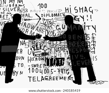 Symbolic image of people who shook hands  - stock vector