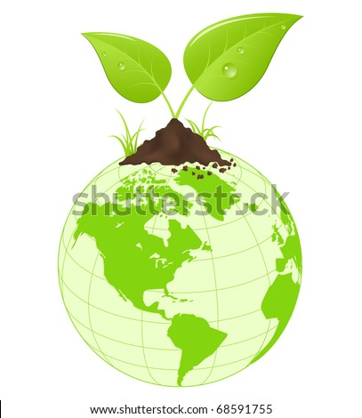 Symbolic image with green earth globe and leaves. Vector illustration. - stock vector