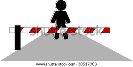 symbolic person before closed by barrier