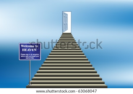 Symbolic stairway with sign welcoming you into heaven - stock vector