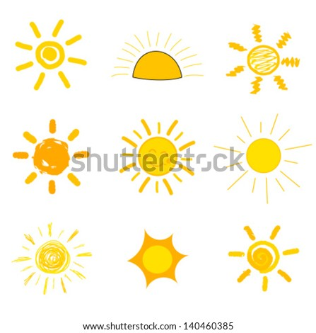 Symbolic sun icons. Child's style of drawing. Vector illustration - stock vector