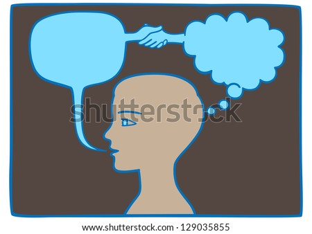 Symbolic - think what you say and say what you think - stock vector