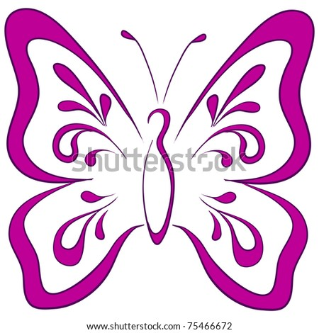 Symbolical butterfly with opened wings, monochrome pictogram - stock vector